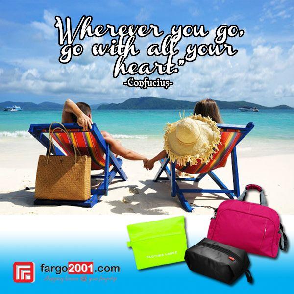 """Kemanapun Anda pergi, lengkapi perjalanan Anda dengan perlengkapan dan aksesoris """"travel"""" dari fargo2001.com ! Perjalanan Anda akan semakin mudah dan menyenangkan ! http://goo.gl/aYZAfJ"""