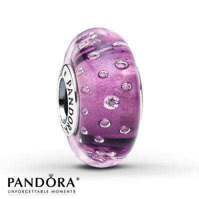 Pandora Charm Purple Glass & Clear CZ Sterling Silver