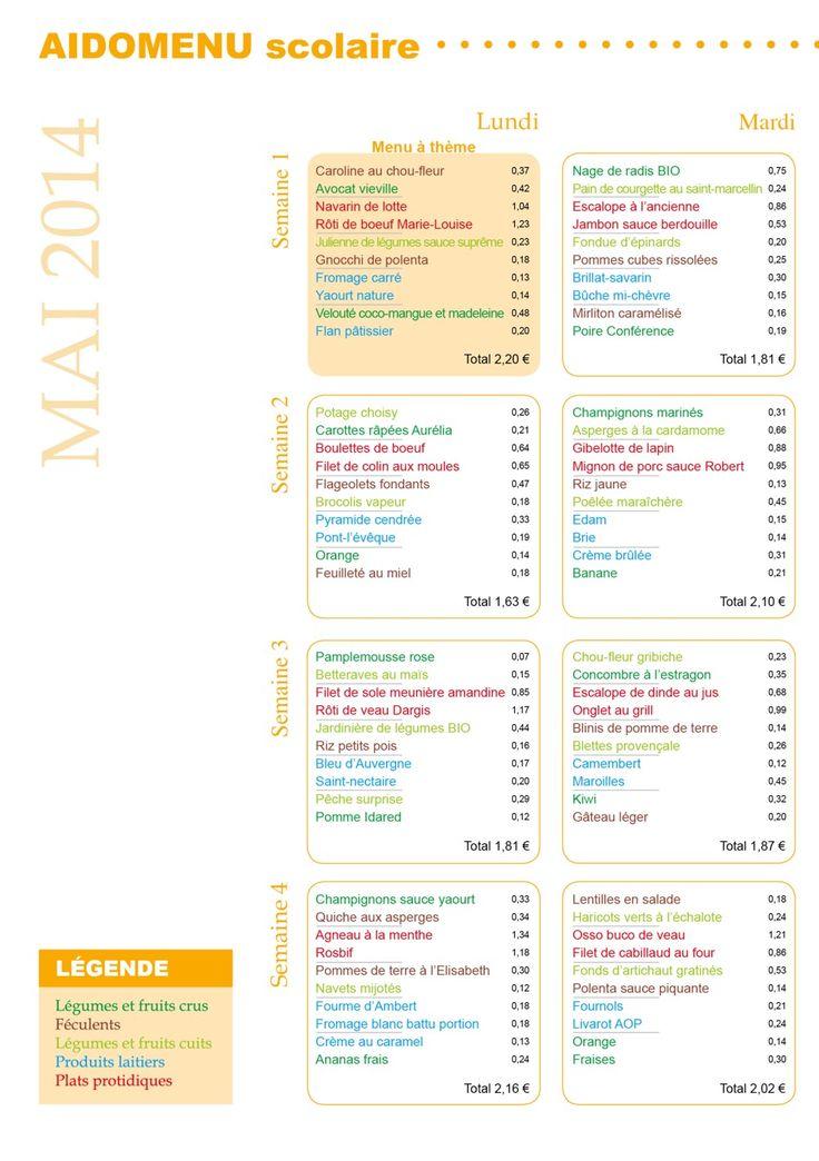 Menu scolaire – Le Cuisinier – Mai 2014 | VICI – Solutions restauration collective et commerciale