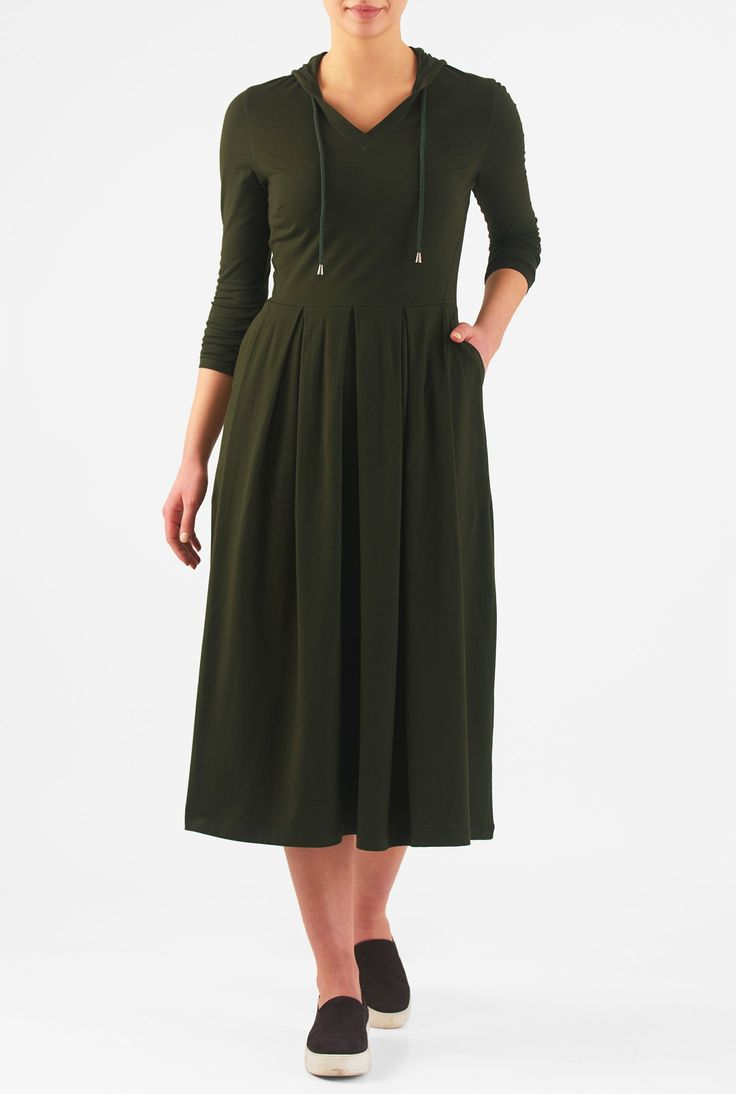 "eShakti Women's Cotton knit hoodie midi dress 1X-18W Short Deep loden green. Slips on over head, back zip closure, Split neck, Bracelet length sleeves, Box-pleat skirt, Side seam pockets, 2"" below mid-calf length, Cotton/spandex, jersey knit, light stretch, light structured feel, midweight, Machine wash cold, Model is wearing our size M/8, cut for her height of 5'8.5"". Comes in Petites, Misses and Plus sizes for all heights. Made-to-order, available in sizes 0-36W and three height options…"