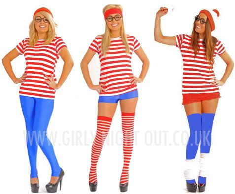 Looking for a BRILLIANT Hen Night Theme!? What about Where's Wally?! Full range of striped costumes and accessories online at Girly Night Out! Now you can even personalise your striped tops! #WheresWally #FancyDress #HenParty xx