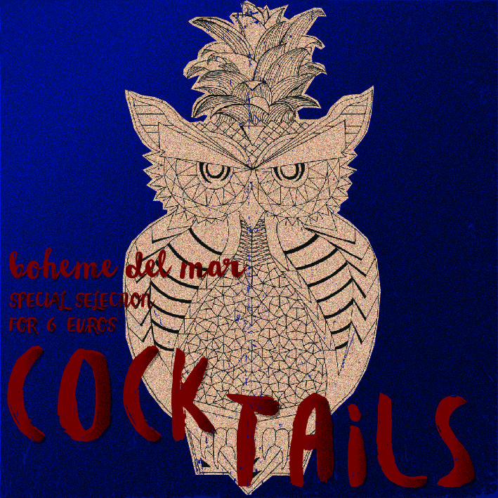 Hand painted poster for cocktail bar