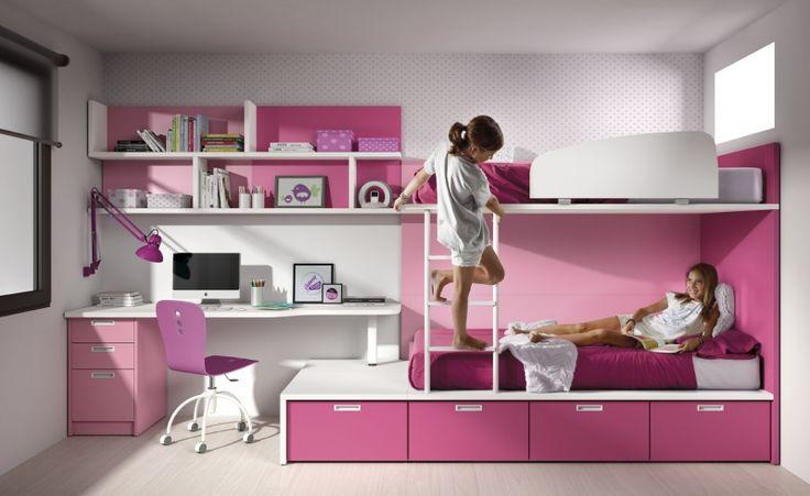 Dormitorio infantil con litera y zona estudio de muebles - Muebles infantiles barcelona ...
