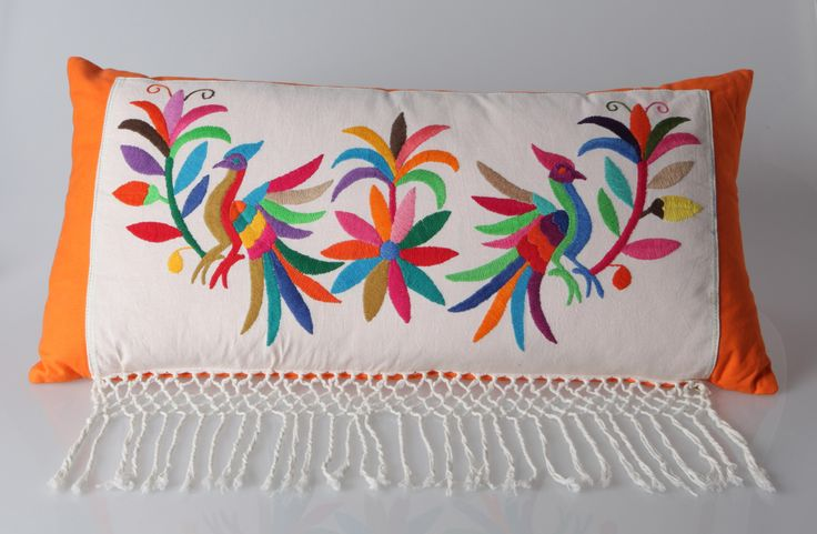 Pillow, made of hand made tenango from Mexico and cotton by Bikasa Designs