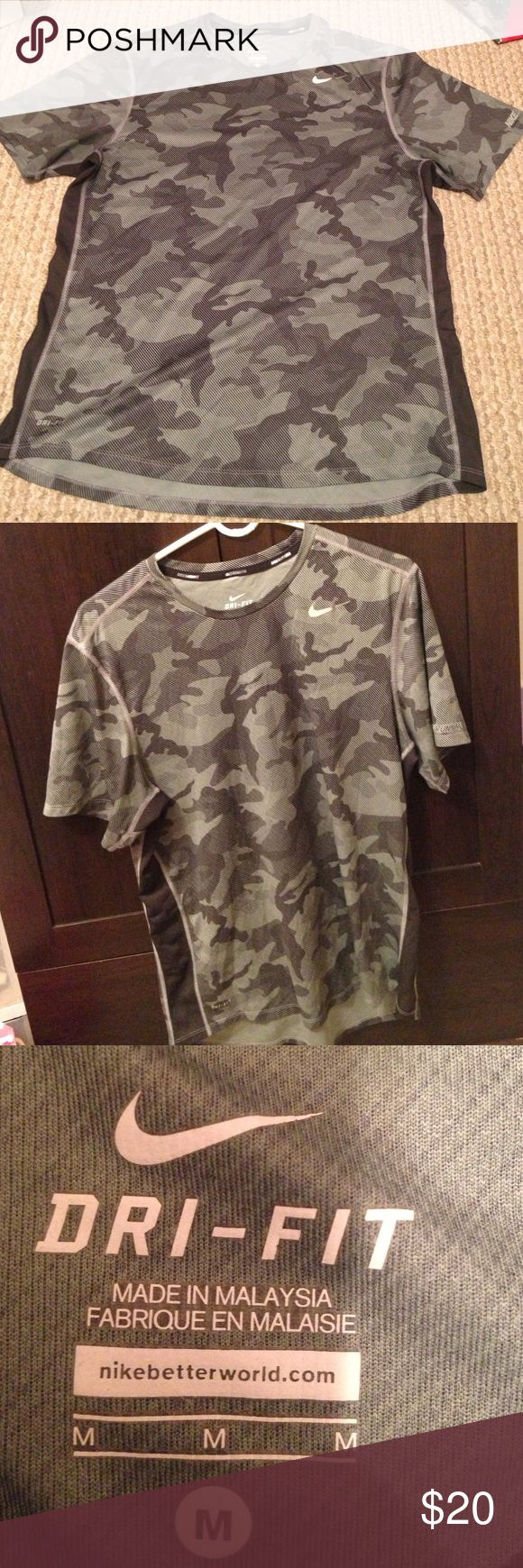 NIKE Dri-Fit Men's shirt size Medium Dri-Fit by NIKE men's gray camouflage shirt size Medium, worn but in very good condition! Nike Shirts Tees - Short Sleeve