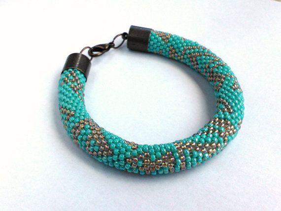 Turquoise Bracelet  Bead Crochet Turquoise by DeerestJewelry