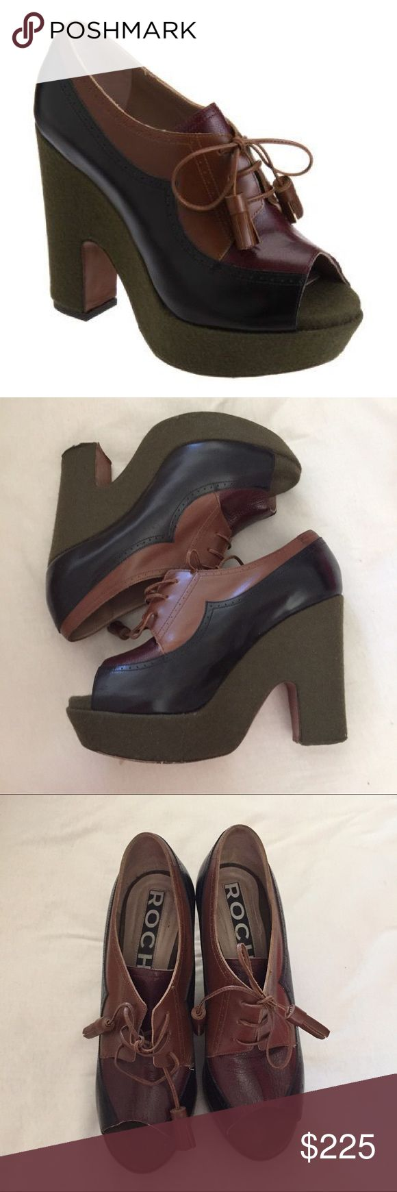 """Rochas Color Block Peep Toe Oxford Wedge Platforms This is a super cute pair of Rochas color Block oxfords. Size 39. Peep toe Lace ups. Heel 4.5"""" front platform 1.5"""". Great condition. Rochas  Shoes Platforms"""