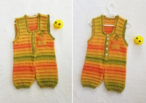 Knitted playsuit called Sunshine Dungarees.  The pattern is for 0 to 2 years old.  See www.tbeecosy.co.za