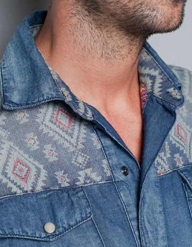 ETHNIC-STYLE DENIM SHIRT - Shirts - Man - ZARA