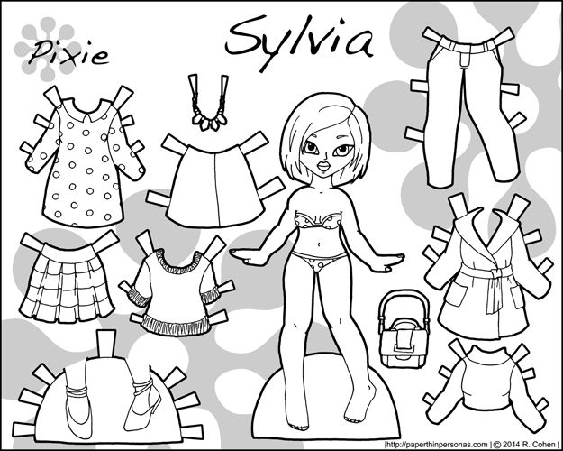 Sylvia, an Asian printable paper doll with several outfit pieces in black and white for coloring