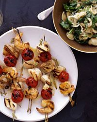 Grilled Seafood Kebabs and Orecchiette with Arugula - Grilled Seafood ...
