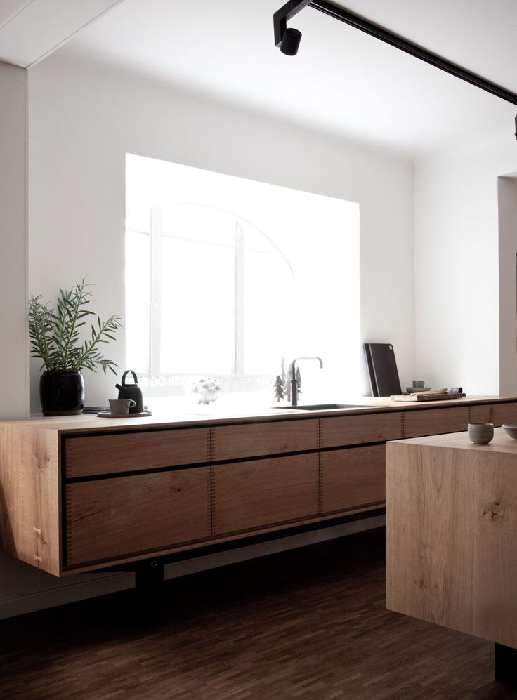Wood counters and drawers.