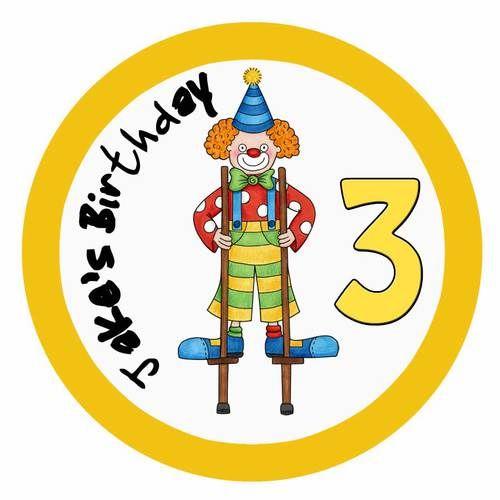 Cartoon Clown Birthday Cake Edible Image Icing Sheet.