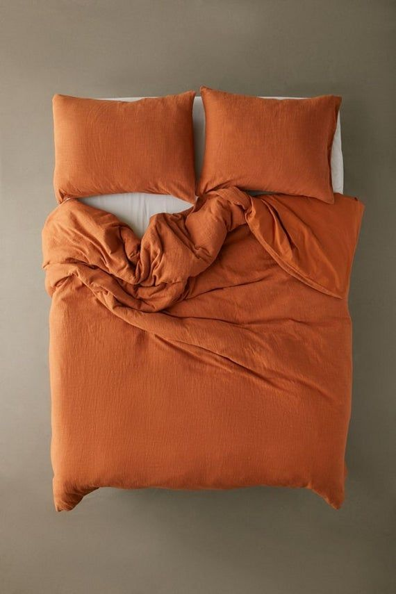 Washed Cotton Duvet Rust Orange Color Duvet Cover With Button Stonewashed Duvet Cover Twin Full Double Queen King Over Size Cotton Bedding In 2021 Duvet Covers Urban Outfitters Orange Duvet