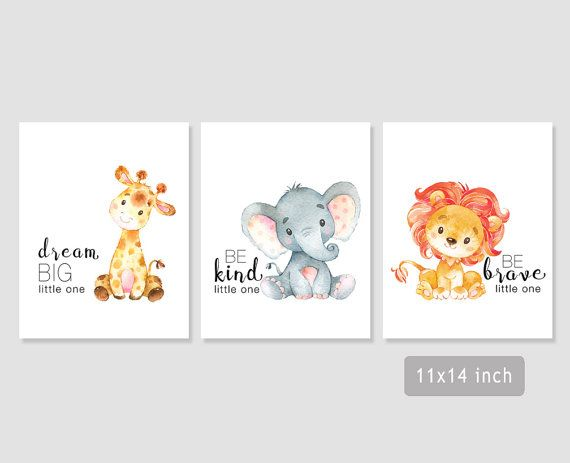 Safari Nursery Art Baby Giraffe Elephant Lion Print Jungle Decor Dream Be Kind Brave Printable Wall 5x7 8x8 8x10 11x14 Babies Kiddos