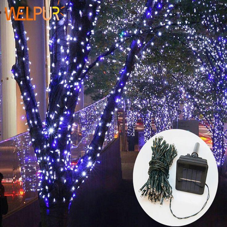 Surya Lampu Taman Lampu Natal Liburan Lampu Luar Peri string cahaya Tahan Air rgb whtie biru Pernikahan liburan
