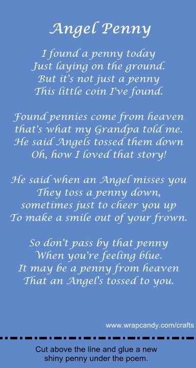 angel pennies from heaven | Angel Penny Gift Poem and Card | Wrapcandy Crafts