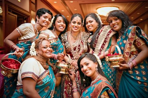 blue indian bridesmaids