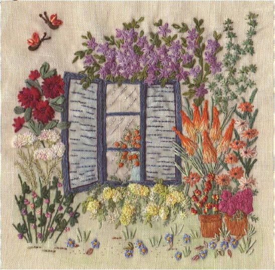 VIEW OF A GARDEN beautiful embroidery kit. Via canevasfollies.ch