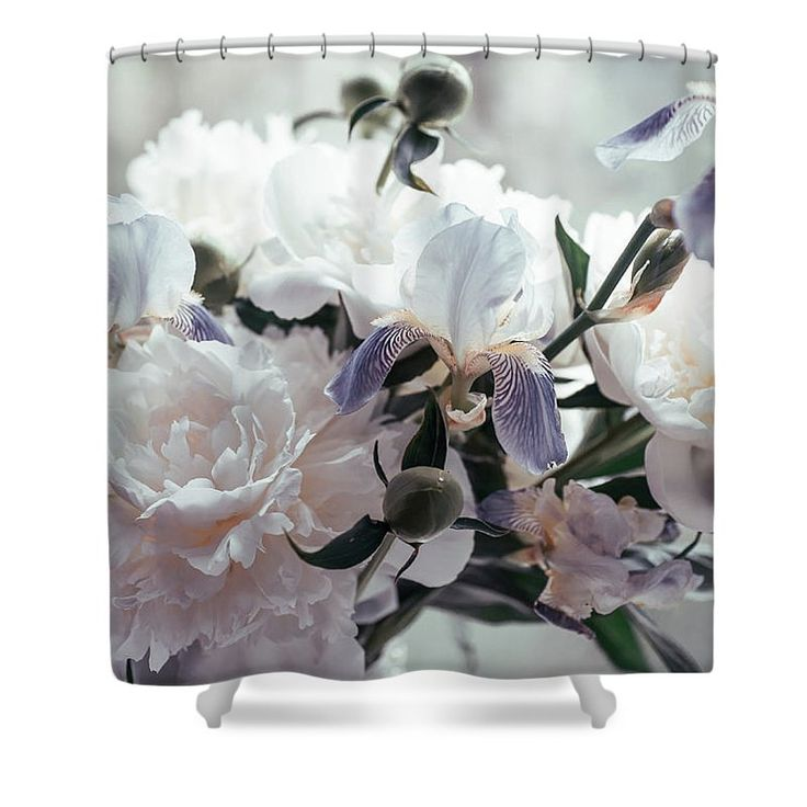 """Peony Romance Shower Curtain by Jenny Rainbow.  This shower curtain is made from 100% polyester fabric and includes 12 holes at the top of the curtain for simple hanging.  The total dimensions of the shower curtain are 71"""" wide x 74"""" tall."""