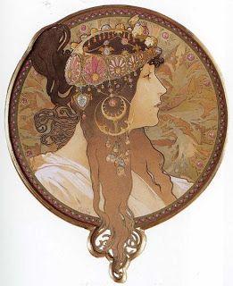 Alphonse Mucha Art Gallery: Alphonse Mucha art: Byzantine Head-The Brunette.