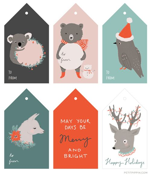 Free Printable Holiday Tags from Petit Pippin