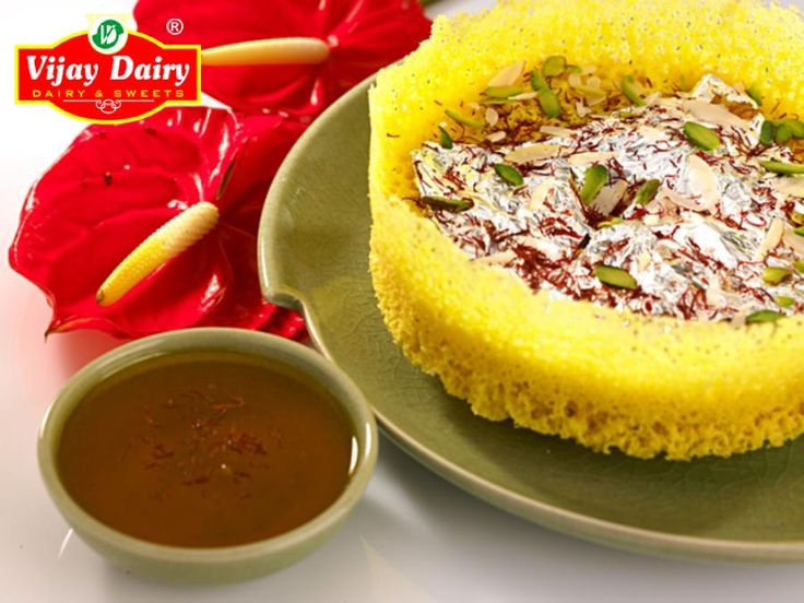 The beautiful  Malai Ghevar by #VijayDairy made with pure desi ghee, fresh malai, saffron and choicest dryfruits.