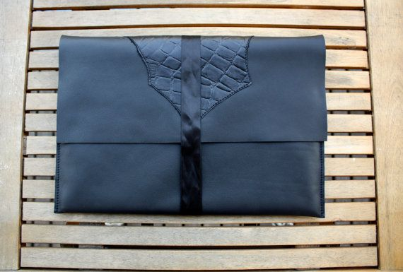 Black MacBook Air 13-inch sleeve cover - Handmade leather laptop case by Vank Design