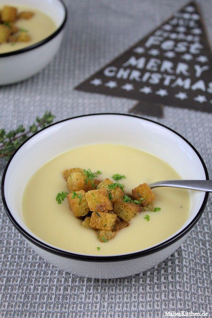 Leckere Kartoffel-Pastinaken-Suppe mit knusprigen Croutons