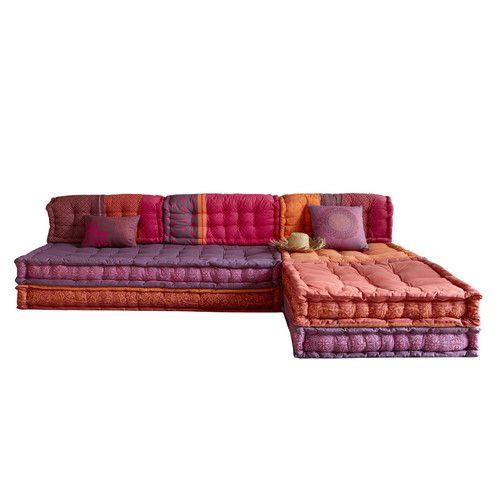 6 seater cotton modular corner day bed, multicoloured
