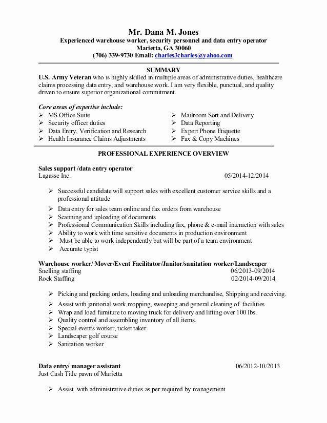 Entry Level Warehouse Resume Lovely Dana New Resume 2014 Data