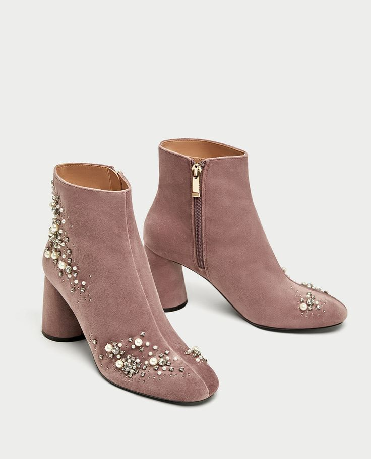 Pink beaded velvet ankle boots of dreams!
