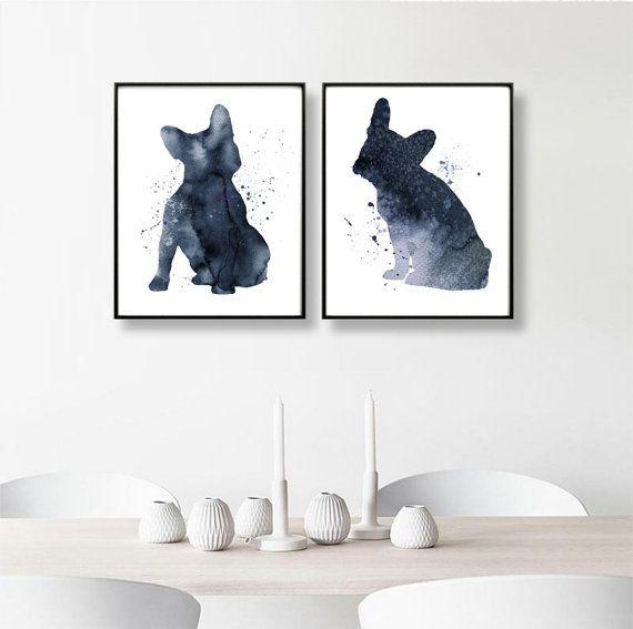 French Bulldogs, Set of 2 Prints, Watercolor Bulldogs, French Bulldog Art, Large Wall Décor, French Bulldog, Navy Blue, Nursery Decor