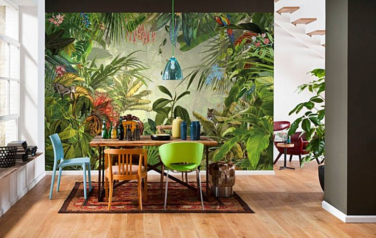 Amazing Tropical Inspiration Dining Rooms: Bring The Jungle Tropics In With A  Full Size Photomural