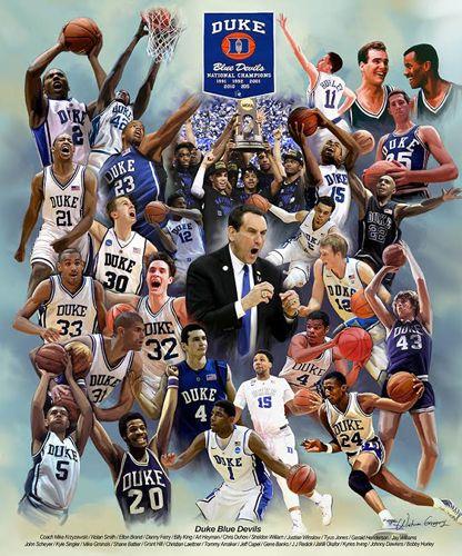 Duke Blue Devils Basketball 26 Legends Commemorative Print - Wishum Gregory