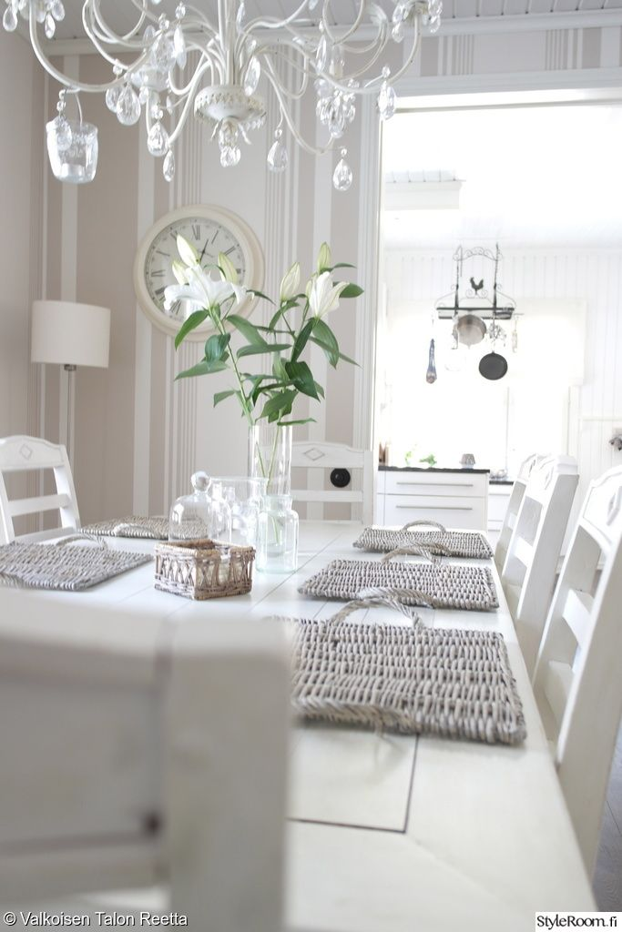 valkoinen puupöytä,beige tapetti,raitatapetti,olohuone,keittiö,ruokapöytä,maalaisromanttinen sisustus,kattokruunu