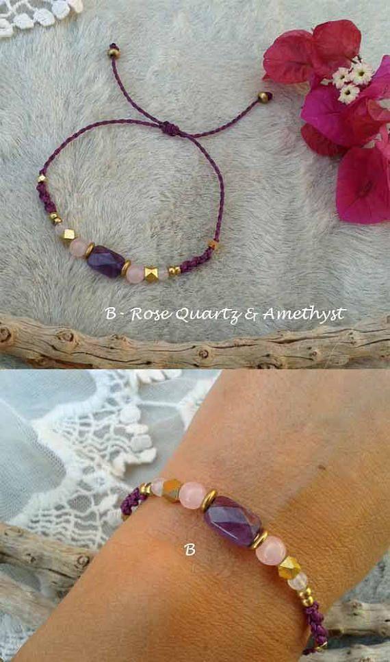 Macrame bracelet Mod.Teresa with natural stones and brass