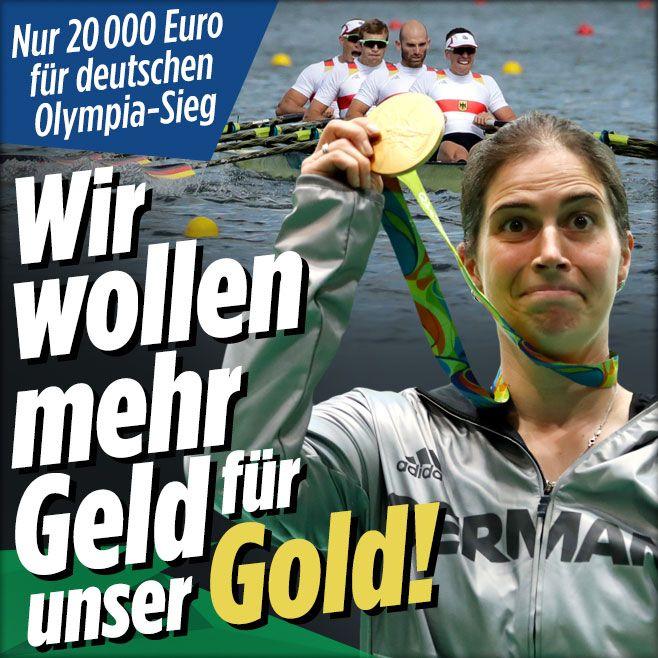 Nur 20 000 Euro für deutschen Olympiasieg | Wir wollen mehr Geld für unser Gold! - Olympia 2016 - Bild.de