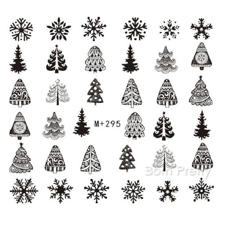 €0.99 1 Pièce Water Decals 6.6*7.2cm Modèle d'Arbre de Noël Flacon de Neige Nail Art Sticker M+294-297 - NeeJolie.fr