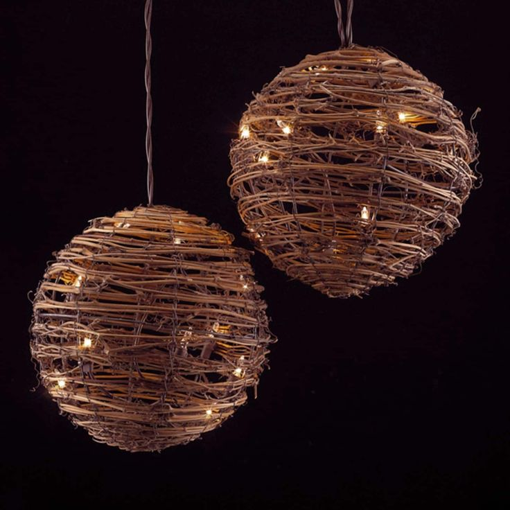 Set of 3 Country Rustic Rattan Ball Novelty Christmas Lights - Clear Lights