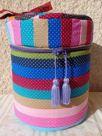 Storage round box of multicolour patchwork fabric by Aliki01