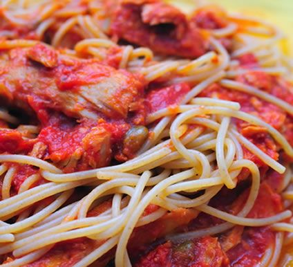 This quick, easy recipe combines tomatoes, garlic, onion, basil, capers, red wine, tuna and more for a delicious dinner. You can serve some garlic bread with it if you like. If you time it well, you can cook the spaghetti at the same time as the sauce mixture and have both ready simultaneously. Serve the sauce ladled on top of the spaghetti or stir the sauce into the spaghetti, as you prefer.
