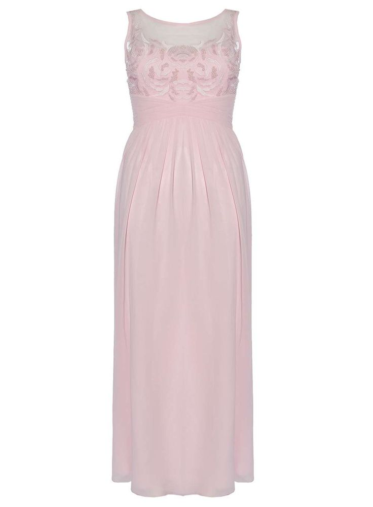Dorothy Perkins Womens **Quiz Pink Beaded Flower Maxi Dress- Chiffon maxi dress with beaded flower pattern bodice. Length approximately 149cm. 100% Polyester. Cool hand wash. Do not bleach, dry clean or tumble dry. http://www.MightGet.com/january-2017-13/dorothy-perkins-womens-quiz-pink-beaded-flower-maxi-dress-.asp