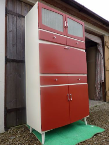 Red Pantry Cabinet With S S Kitchen Larder Cupboard Vintage Retro Pantry