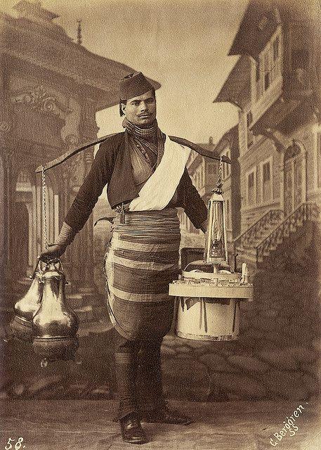 a tea seller in traditional dress including, 1870s,Sebah, J. Pascal - G. Berggren