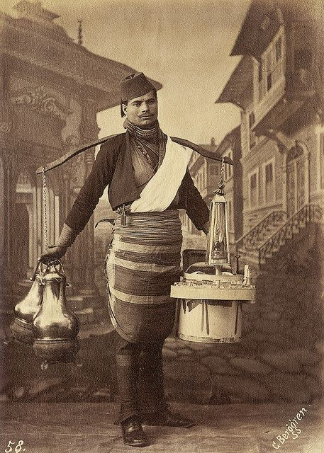 A ÇAYCI (thea seller) in traditional dress. Istanbul, 1870s, (Sebah, J. Pascal - G. Berggren).
