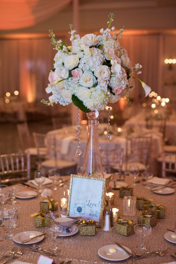 Tall White and Light Pink Rose and Hydrangea Wedding Centerpieces ...