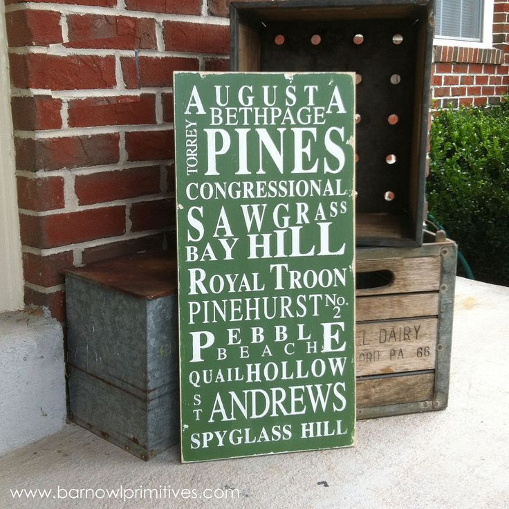 Famous Golf Courses Typography Word Art Sign in Green Heavily Distressed