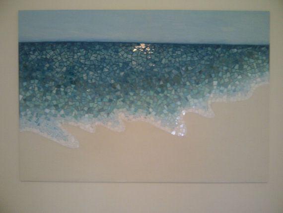 Mosaic waters edge: Mosaics Art, Beaches Mosaics, Mosaics Waves, Beaches Wall Art, Abstract Mosaics, Beaches Glasses Mosaics, Art Ideas, Beach Wall Art, Mosaics Beaches