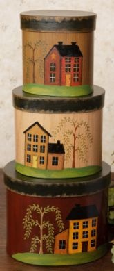 """SALT BOX HOUSE NESTING BOXES Salt box house nesting boxes stack 16"""" high with the largest being 7 1/2""""W x 6""""H. Price:$21.99"""